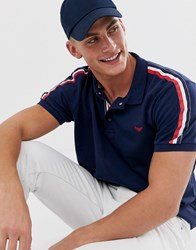 Threadbare Polo With Taping In Navy