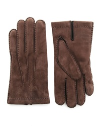 Agnelle Dark Brown Nubuck Gloves