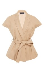 Paule Ka Cotton Tricotine Short Sleeve Jacket With Top Stitch And Self Belt Tan