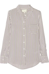 Band Of Outsiders Striped Silk Crepe De Chine Shirt White