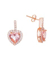 Lord And Taylor Cubic Zirconia Heart Earrings Pink