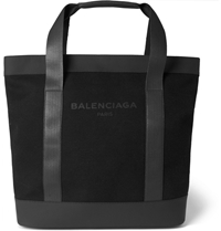 Balenciaga Canvas And Leather Tote Bag Black