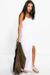 Boohoo Button Front Strappy Maxi Dress White