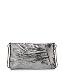 Milly Kendra Pleated Crossbody Bag Silver