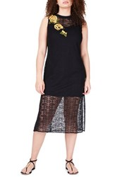 Elvi Plus Size Women's Embroidered Lace Tunic Dress Black