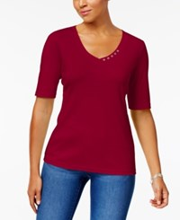 Karen Scott Elbow Sleeve Cotton Top Created For Macy's New Red Amore