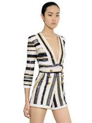 Zuhair Murad Striped Sequined Tulle Romper