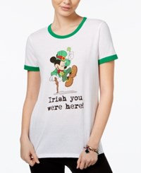 Disney Juniors' Mickey Mouse Irish Graphic Ringer T Shirt White Kelly Green