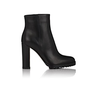 Leather Side Zip Ankle Boots Black