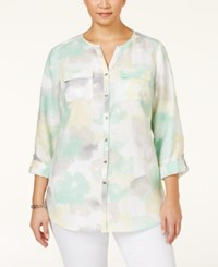 Jm Collection Woman Jm Collection Plus Size Linen Printed Blouse Only At Macy's Canvas Carnival