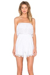 Bardot Veil Lace Playsuit White