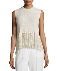 A.L.C. Dylan Sleeveless Popcorn Silk Fringe Top Natural Size Large