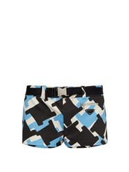 Prada Belted Houndstooth Technical Twill Swim Shorts Blue Multi