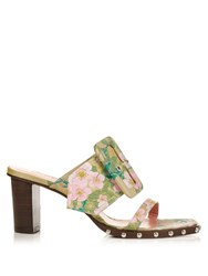 Marques Almeida Oversized Buckle Floral Brocade Mules Multi