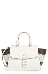 Burberry 'Medium Harcourt' Check And Pebbled Leather Satchel White