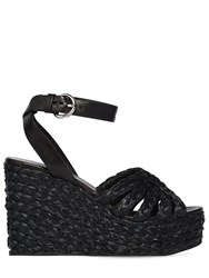 Prada 105Mm Woven Satin And Leather Wedges Black