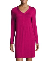 Kensie Long Sleeve Stretch Knit Shift Dress Wine