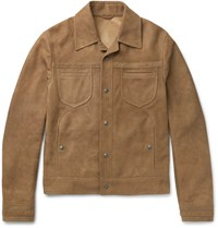 Bottega Veneta Slim Fit Intrecciato Trimmed Suede Jacket Brown