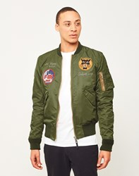 Schott Nyc Embroidered Souvenir Bomber Jacket Green