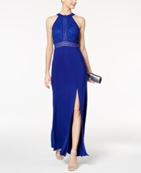 Nightway Petite Glitter Lace Empire Waist Gown Royal