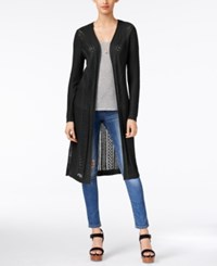 It's Our Time Juniors' Open Knit Duster Cardigan New Black