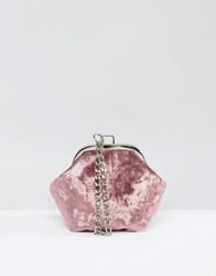Missguided Velvet Clutch Bag With Chain Handle Pink