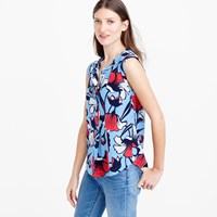 J.Crew Tall Sleeveless Drapey Silk Popover In Deco Floral