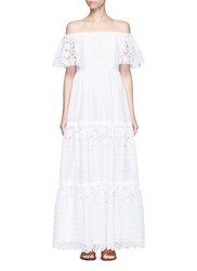 Valentino Broderie Anglaise Off Shoulder Maxi Dress White