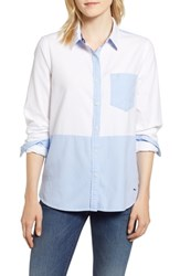 Vineyard Vines Colorblock Relaxed Oxford Blouse White Cap