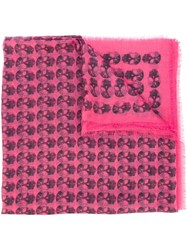 Zadig And Voltaire 'Kerry' Ethnic Skull Print Scarf Pink And Purple