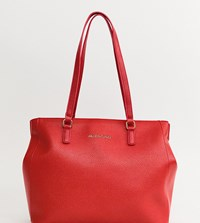 Valentino By Mario Valentino Tumbled Black Soft Tote Bag In Red