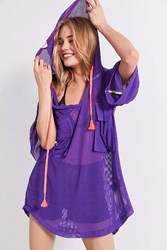 Without Walls Carla Oversized Mesh Utility Top Purple