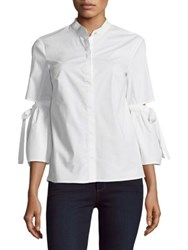 Ellen Tracy Petite Poplin Cutout Sleeve Shirt White
