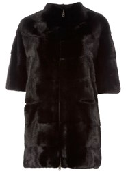 Liska Mink Fur Coat Black