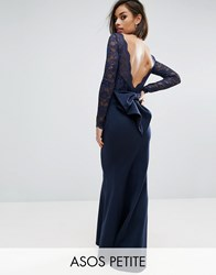 City Godess Petite Goddess Fishtail Maxi Dress With Lace Sleeves And Bow Back Navy