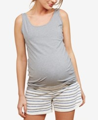 Motherhood Maternity French Terry Shorts Blue Multi Stripe