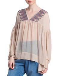 Plenty By Tracy Reese Sheer Peasant Top Brown