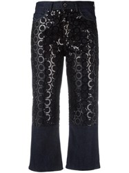 Diesel Black Gold Sequin Embroidery Cropped Jeans Blue