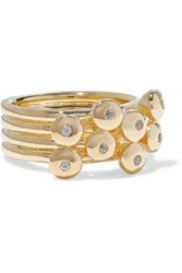 Elizabeth And James Gold Tone Crystal Ring Gold