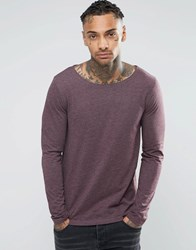 Asos Long Sleeve T Shirt With Boat Neck In Oxblood Oxblood Red