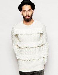 Asos Cable Knit Jumper With Fringing Cream