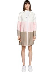 Courreges Color Block Crackled Vinyl Coated Parka Beige Pink