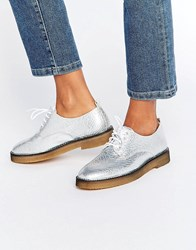 Miista Eloise Lace Up Flat Shoes Silver