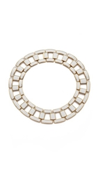 Rachel Zoe Eloise Leather Link Collar Necklace White