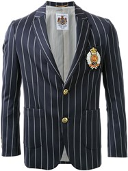Education From Youngmachines Pinstriped Insignia Applique Single Breasted Blazer Blue