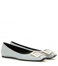 Roger Vivier Trompette Patent Leather Ballerinas Blue