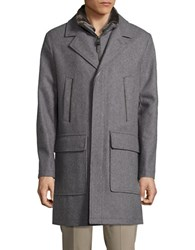 Cole Haan Faux Fur Accented Wool Rich Coat Light Grey