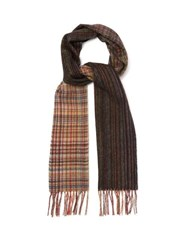 Paul Smith Signature Stripe And Check Wool Scarf Multi