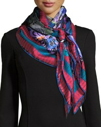 Jane Carr The Decoupage Silk Twill Square Scarf Multi