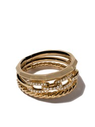 David Yurman 18Kt Yellow Gold Stax Diamond Narrow Ring Metallic